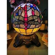 Style Stained Glass Dragonfly Table Lamp Round Globe Accent Light 10h