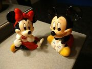 1994 Mickey And Minnie Mouse Porcelain Music Figurines Paid 60 Each 27 Years Ago.