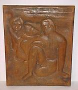 Modernist Modernism Figurative Wood Carving Of Couple Sculpture C.malcolm Powers