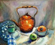 Oil Painting Still Life - Antique Copper Tea Pot And Fruit - Very Cezanne