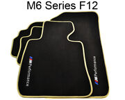 Floor Mats For Bmw M6 Series F12 Black Beige Rounds With M Performance Clips