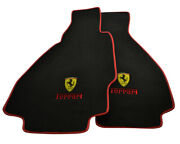 Floor Mats For Ferrari 328 Gts 1985-1989 Carpets Red Leather Rounds And Emblem Lhd