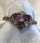 Victorian Antique Amethyst Opal Gold Ring 9k Size 7.75 Exquisite
