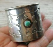 Vintage Native American Navajo Hand Forged Sterling Silver Turquoise Baby Cup