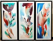 Vguc+ Peter Kitchell Signed And Coa Le 98/300 Triptych Duck Down And Tulip Feathers