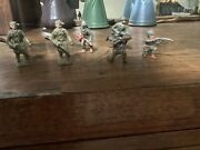 Vintage Lead Lincoln Logs Usa Davy Crockett Toy Figures And 4 Soldiers Brand