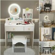 Modern Led Lighted Mirror Makeup Table Dressing Desk W/stool Dimmable Vanity Set