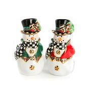 New Mackenzie Childs Adorable Top Hat Snowman Salt And Pepper Shakers New In Box