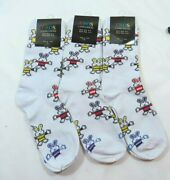 3 Pack Womans White Bunny Rabbit Fashion Eros Crew Socks Size 9-11 Hare Holiday