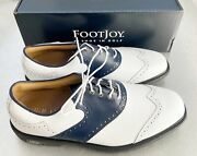 Footjoy Myjoys Icon Shield Tip Golf Shoes White/ Navy Blue Saddle 6 Wide