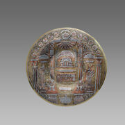 Middle Eastern Judaica Silver Inlaid On Brass Plate.