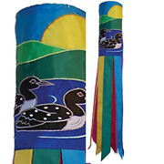 Pair Of Loons Windsock With Embroidered Accents From In The Breeze 4620