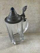 Vintage Solid Glass Beer Stein Mug With Metal Hinged Pewter Lid And Blue Stone
