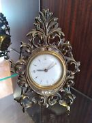 Made In France Bayard Scroll Jeweled Standing Clock With Clear Rhinestone Hollyw