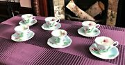 Vintage Glengarry Thistle Foley China English Bone China Footed Cups And Saucers
