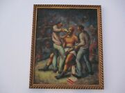 Antique Vintage Wpa Style Boxing Ring Boxer Painting Impressionism American