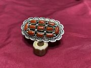 Navajo Red Coral Cluster Ring Signed Tj Size 8.5