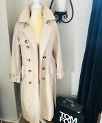 Tahari Laurie Maxi Double Breasted Trench Coat Small Nwt