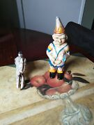 Old Cast Iron Enamel Penny Bank Jester / Clown Plus Horse Used Very Heavy