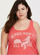 Nwt Torrid Plus Size 0 Large Coral Beach Vibes Classic Fit Tank