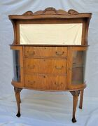 Vtg Victorian Tiger Oak Server / Sideboard With Mirror And Bowed Glass Display