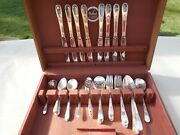 1847 Rogers Bros. Adoration Silverware 46 Pieces Wooden Case Table Setting For 8