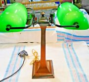 Antique Arts And Crafts Double Banker's Desk Lamp Green Cased Glass Shades 2584
