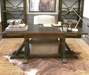 Industrial Timber-beam Desk Solid Wood And Steel Rustic Primitive Modern Style