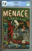 Menace 2 Cgc 7.0 Cr/ow Pages // Bill Everett Cover/art + Stan Lee Story