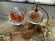Lot Of 2 Mid Century Murano Glass Perfume Bottles Made In France Signed Alex