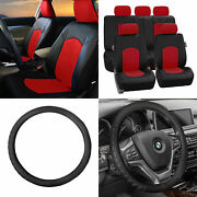 Perforated Leather Auto Seat Covers Red Black W/ Leather Steering Wheel