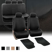 Fh Group Black Pu Leather Seat Cover And Vinyl Floor Mats