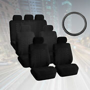 Suv 3row 7 Seats Black Seat Covers With Black Leather Steering Wheel Cover Combo