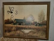 Gene Speck Signed 12 X 16 Framed Clock With Countryside Farm Scene