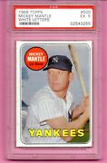 1969 Topps Mickey Mantle Last Name In White 500 Psa 5 Ex Vintage 1960s