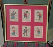 Victorian Golfing Happy Family Antique Cards Golf Caricatures Cartoons Framed