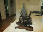 Handmade Evergreen Trees On Metal/iron Stand. Different/primitive