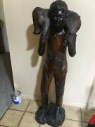 Vintage Signd Quality Haitian Lrg Hand Carved Wood Sculpture Statue Farmer And Pig