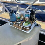 The Docktail Boat Table Caddy Plus Teak Seadeck Kit With Two 4.5 Seasucker Suct
