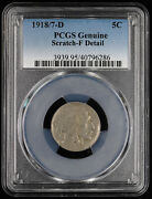 1918 / 7 D 5c Buffalo Nickel Pcgs F Detail