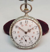 Rare 1900and039s Huguenin Freres Solid Silver Chinese Dragon Pocket Watch