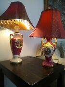 Vintage Mid Century Hand Painted Pair Of Porcelain Vase Lamps