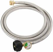 Stainless Steel Braided Propane Adapter Hose With Propane Tank Gauge