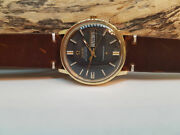 Rare 1970and039s Omega Constellation Black Dial Gold Cap Auto Cal761 Manand039s Watch