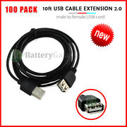 100 Usb 10' Extension Cable Cord For Phone Samsung Galaxy S3 S4 S5 S6 S7 S8 Plus