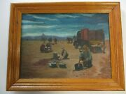 Small Gem Antique Oil Painting Western Cowboy Pioneer Coffee Wpa Old Truck Horse