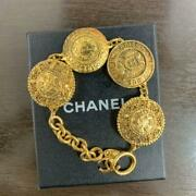 Auth Vintage Logo Gold Medallion Chain Bracelet Used From Japan F/s