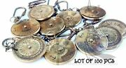 Lot Of 100 Pcs Antique Vintage Solid 100 Year Compass Key Chain Brass Nautical