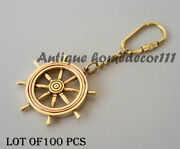 Nautical Ship Wheel Key Ring Chain Lot Of 100 Pcs Brass Vintage Collectible Gift