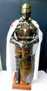 Medieval Full Body Armour Knight Suit Of Templar Armor W/sword Combat Stand